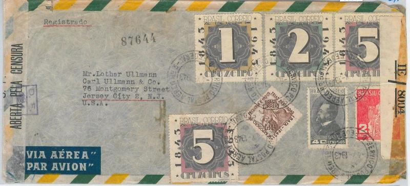 65036 - BRAZIL - POSTAL HISTORY -  COVER to USA 1943 -  US + BRAZIL Censure tape