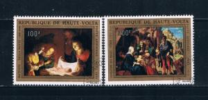 Upper Volta C127-28 Used set Nativity 1973 (U0337)