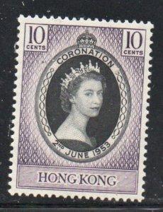 Hong Kong Sc 184 1953 Coronation QE II stamp mint NH
