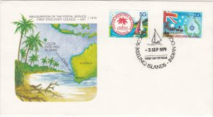 Cocos Islands # 32-33, Ship & Map of Islands, First Day Cover