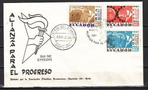 Ecuador, Scott cat. 715-717. Kennedy`s Alliance for Progress. First day cover.