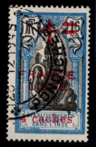 FRENCH INDIA  Scott 185 France Libre  opt 4CA on 16CA Ised CV $45