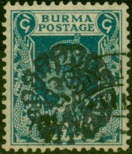 Burma Japan Occu 1942 4a Greenish Blue SGJ21 Very Fine Used Scarce