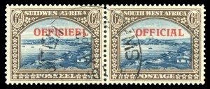 S.W.A. 1945 KGVI Official 6d blue & brown bilingual pair VFU. SG O22. Sc O22.