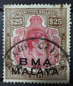 RARE MALAYA 1945-48 BMA opt Straits Settlements KGVI Revenue $25 Used M2923