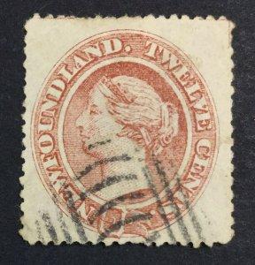 MOMEN: NEWFOUNDLAND #28 YELLOWISH PAPER USED £150 LOT #7024