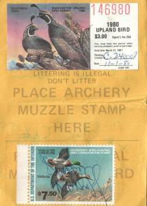 1980 USA Duck Stamp #RW47 + Upland Washington Hunting & Fishing License