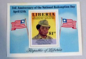 Liberia - 972, MNH S/S. Samuel Doe. SCV - $3.50