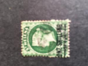 St. Helena 1864 One Sh. on 6 Pence Green. 2015 Scott #16 Used F - Cat. $35.