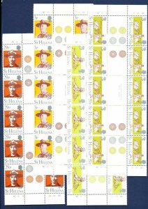 St. Helena - Scott 378-381 VFMNH Strip of Five Gutter Pairs - Boy Scouts - 1982