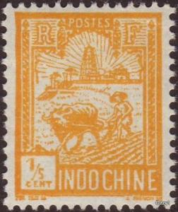Indo China 1927 Sc#116 SG#137 1/5c Yellow Farmer Ploughing Mint