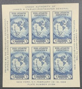 #735 – 1934 3c Byrd Antarctic Expedition, souvenir sheet.  MNH.