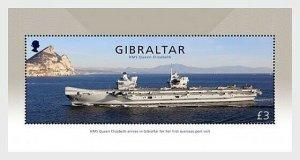 2018    GIBRALTAR  -  HMS QUEEN ELIZABETH - UNMOUNTED MINT MINI SHEET
