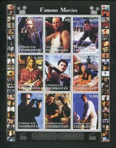 Tajikistan Commemorative Souvenir Stamp Sheet - Hollywood Famous Movies Part 2