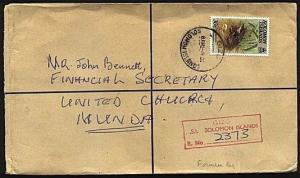 SOLOMON IS 1981 Official formular registered envelope used ex Gizo.........19700