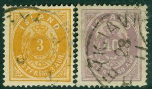 EDW1949SELL : ICELAND 1882-98 Scott #15, 18 Very Fine, Used. Catalog $92.00.