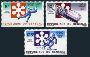 Senegal C107-C109,MNH.Michel 479-481. Olympics Sapporo-1972.Speed skating,Skiing