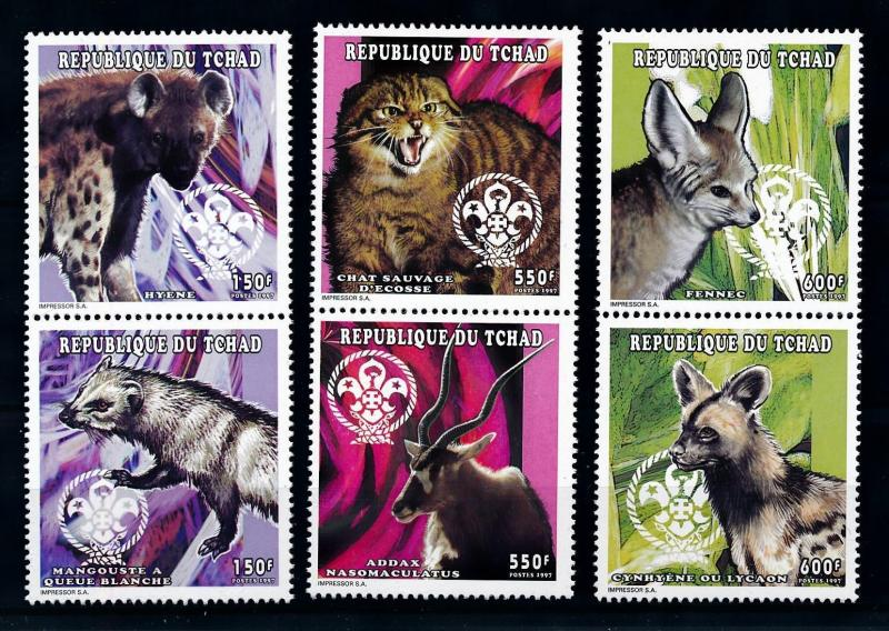Chad MNH Set Of 6 Mammals Hyena Wild Cats Mongoose & More 1998