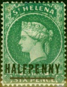 St Helena 1884 1/2d Emerald SG34 Words 17mm Fine Mtd Mint