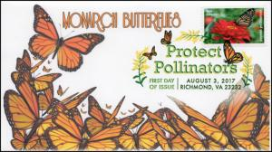 17-198, 2017, Protect Pollinators, Monarch Butterfly, Digital Color Postmark,FDC