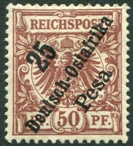 GERMAN EAST AFRICA-1896-99 25p on 50pf Chocolate Sg 14 MOUNTED MINT V36331