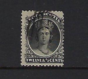 NOVA SCOTIA SCOTT #13 1860-63 VICTORIA 12 1/2 CENT (BLACK)-USED