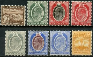 MALTA Sc#29-32, 34-36, 43 1904-11 KEVII 8 values Mint OG Most Hinged