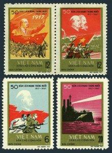 Viet Nam 471-473,MNH.Michel 491-494. Russian October Revolution,50th Ann.1967.