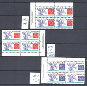 Canada DIFFERENT PAPERS PBs SCOTT 648vii, 649i, 649ii VF MINT NH(BS13283-1)