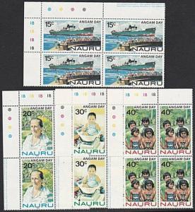 NAURU 1983 Angam Day set plate blocks of 4 MNH.............................57691