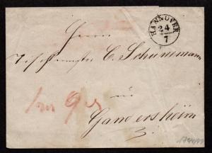 $German Stampless Cover, Hannover-Gandersheim, date