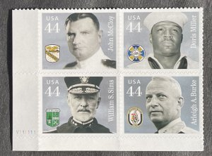 US 2010 Distinguished Sailors Plate Block of 4 BL V11111 # 4443a