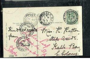 CAPE OF GOOD HOPE COVER (P3006B)  1906 KE 1/2D ON PSC TO KALK BAY FORWARDED