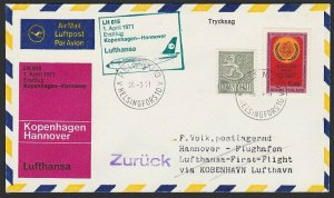 FINLAND 1971 Lufthansa first flight cover to Germany........................H286