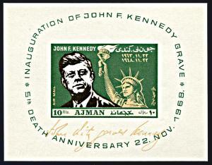 Ajman Michel Block 65, MNH,5th Anniversary Death of J. F. Kennedy souvenir sheet