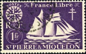 St-PIERRE-&-MIQUELON - 1942 - Yv.302/Mi.305 1fr vioet-brun - Oblitéré TB