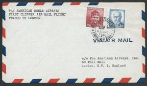 CZECHOSLOVAKIA 1946 PanAm first flight cover Prague to London..............61349