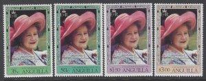Anguilla, Scott #394-397; Queen Mother Elizabeth, MNH