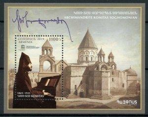 Armenia Churches Stamps 2019 MNH Archimandrite Komitas Soghomanion 1v M/S