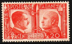 Stamp Italy SC 0414 WWII Hitler Mussolini Rome Berlin Axis Germany War MNH