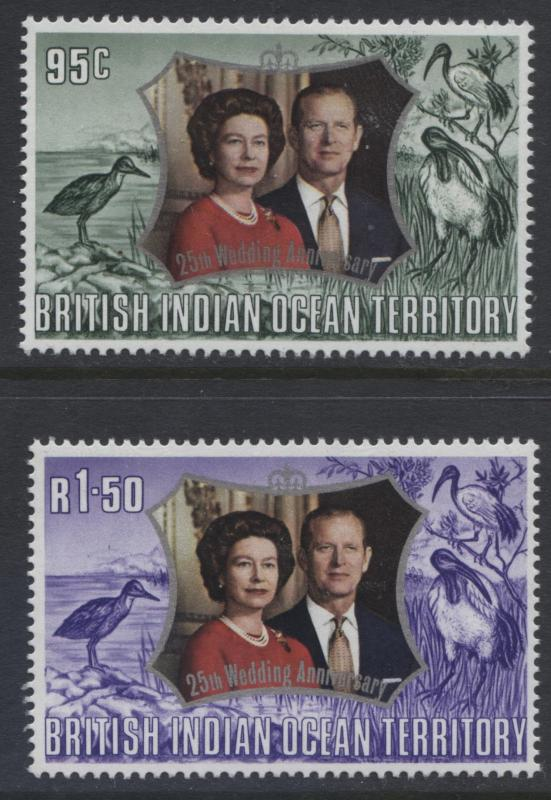 B.I.O.T. -Scott -48-49 - Silver Wedding Anniversary -1972- MNH- Set of 2 Stamps