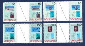 VANUATU - # 519-522 - - VFMNH gutter pairs  - stampworld 1990 expo - 1990