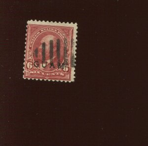Guam 6 Overprint Used Stamp with Bold  Cancel (Guam Bx 992)