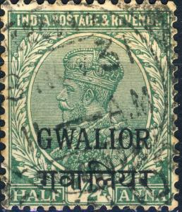 GWALIOR - KGV - 1930 - SG87 1/2A green - VFU