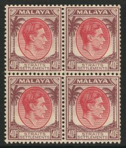 Malaya Straits Settlements 1937 KGVI 40c 4V block MInt SG#288 M1972