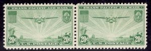 US Stamp #C21 Pair 20c China Clipper MINT NH SCV $20.00
