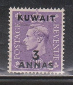KUWAIT Scott # 77 Used - KGVI Stamp Of Great Britain With Overprint