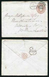EP22 QV 1d Pink Envelope Size H (16.7.73) Used