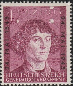 Stamp Germany Poland General Gov't Mi 104 Sc NB27 1943 WWII Copernicus War MH