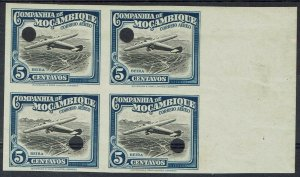 MOZAMBIQUE COMPANY 1935 AIRMAIL 5C IMPERF PROOF BLOCK MNH **